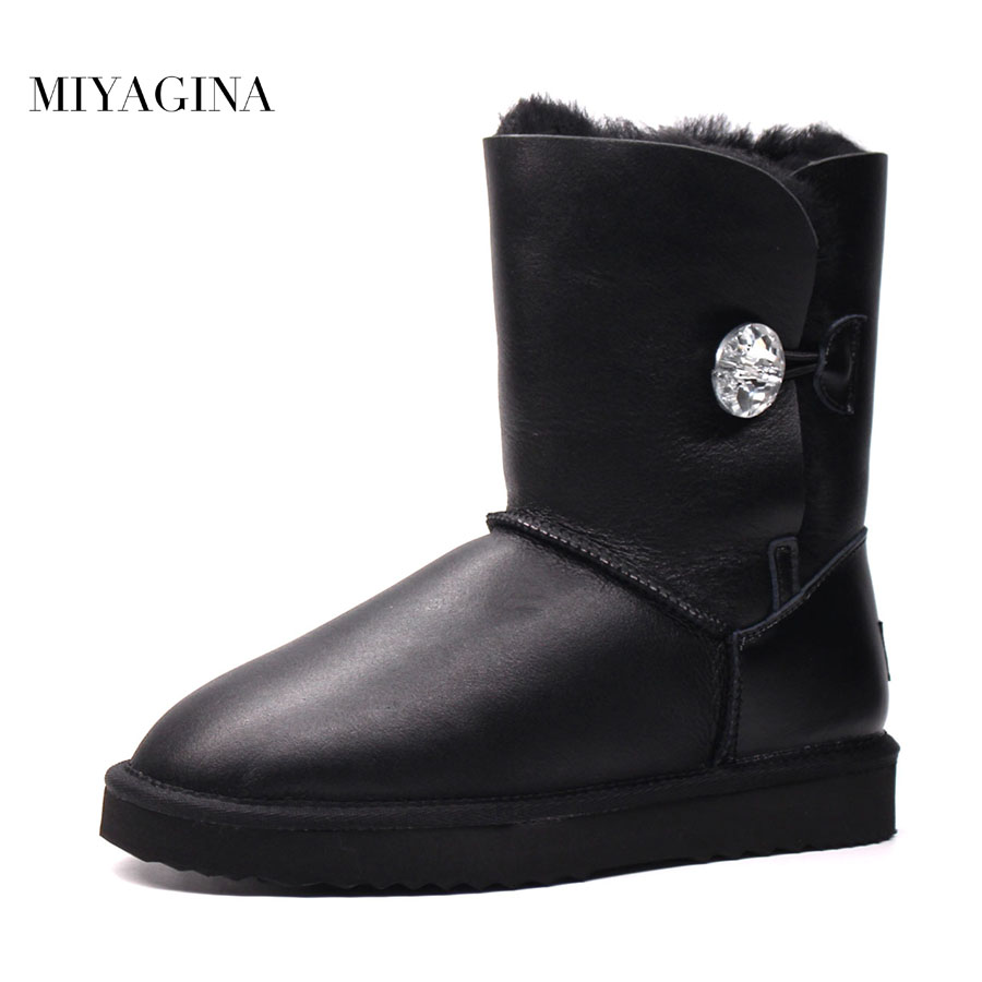 Top 2018 Hot Sale 100% Genuine Sheepskin Leather Snow Boots New Fashion Natural Fur Botas Mujer Real Wool Winter Women Shoes