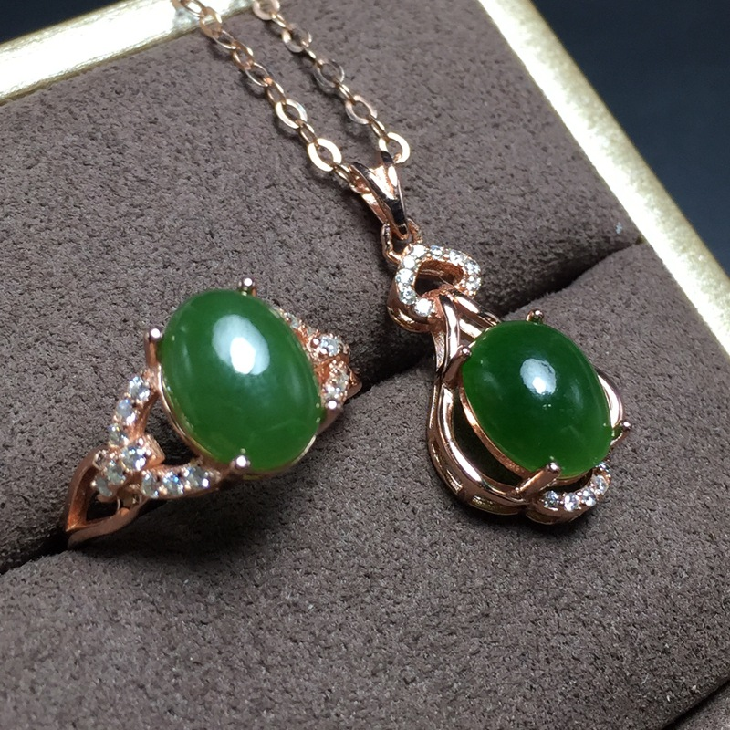 MeiBaPJ Classic Natural Nephrite Jade Gemstone Jewelry Set 925 Sterling Silver 2 Siut Green Stone Fine