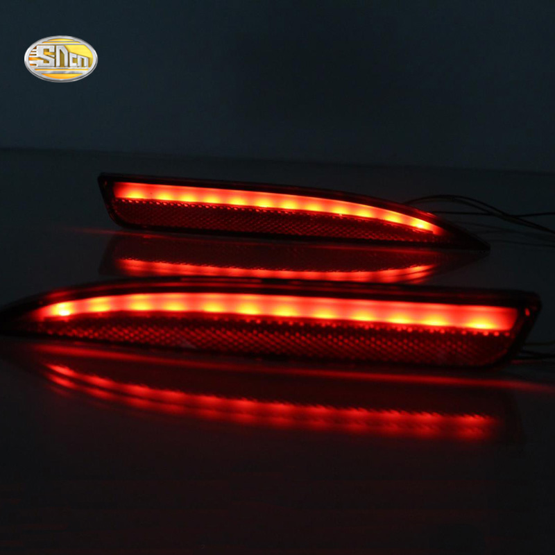 SNCN Led rear bumper lights for Volkswagen Vw Scirocco R GTS Rline 2011-2015 Led Braking Driving Turning lamp reflector golfliath black pp material rear bumper lip diffuser for volkswagen vw scirocco r 2009 2014 non standard dual exhaust one out