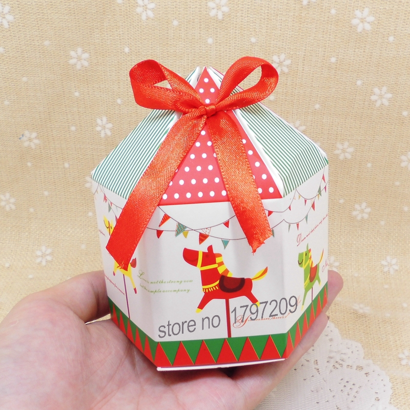 20pcs merry go round candy box cookie box with ribbon hexagon design baby shower favor baby shower christmas boxes new year in gift bags wrapping supplies - Christmas Candy Boxes