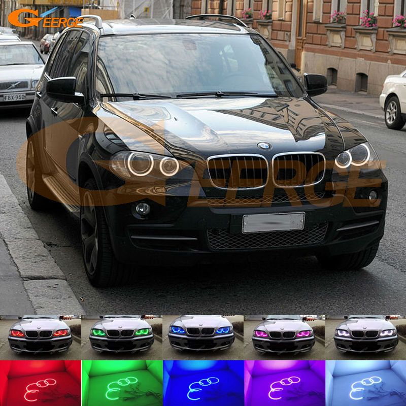 For BMW X5 e70 2007 2008 2009 2010 2011 2012 2013 Xenon headlight Excellent Multi-Color Ultra bright RGB LED Angel Eyes kit promotion 6pcs 100