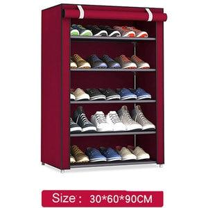 Image 1 - Non woven Fabric Storage Shoe Rack Hallway Cabinet Organizer Holder 4/5/6 Layers Assemble Shoes Shelf DIY Home Furniture