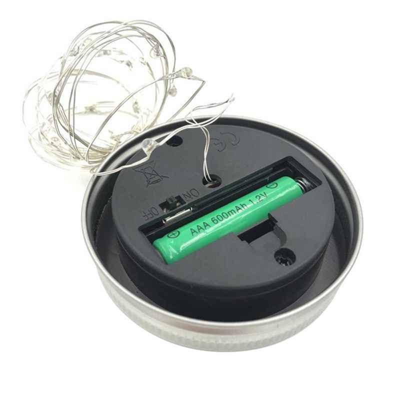 2M 20 LED String Lampu Tenaga Surya untuk Mason Jar Tutup Insert Warna Mengubah Taman Tahan Air Dekorasi Natal Garland