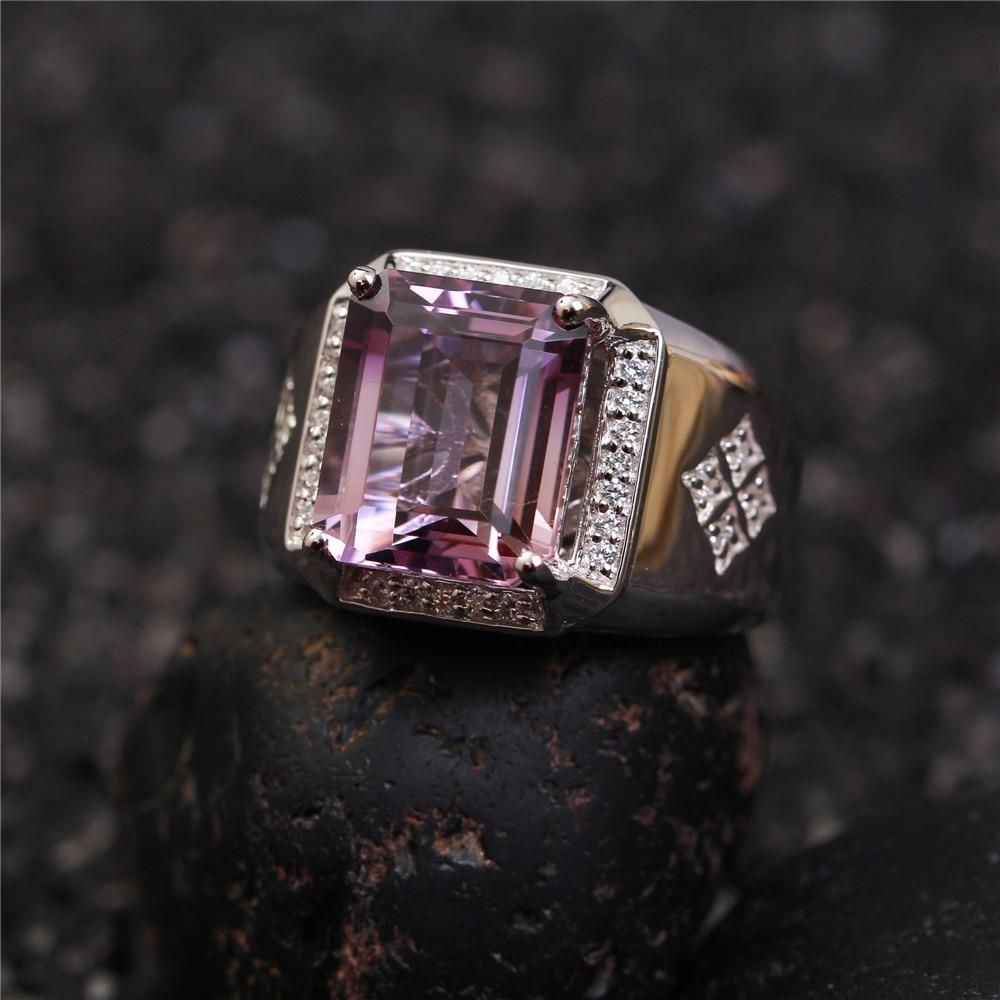 SGARIT usine gros pierres précieuses 925 bague en argent sterling bijoux naturel améthyste violet cristal réglable anneau pour homme - 4