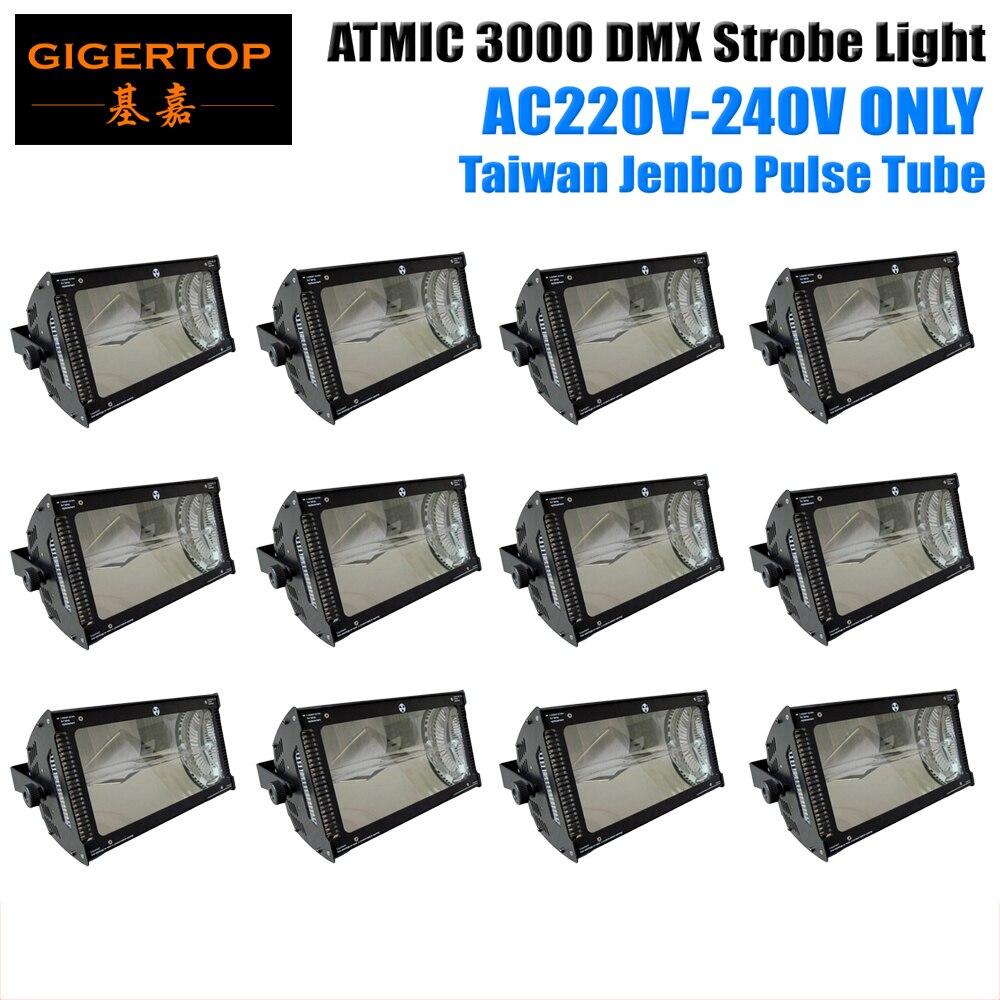 Livraison gratuite 12 xLot 220 V-240 V 3000 W lumière stroboscopique xénon CPU DMX 512 Martin atomique noir coulée électrostatique peinture en poudre