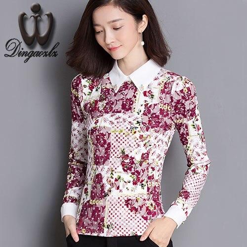 de Otoño de manga Larga camisa de La Blusa de Gasa de Las Nuevas Mujeres camisa