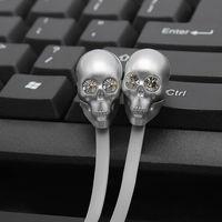 Skull Earphones Headphone With Microphone Rock Zircon Earpods For PC Iphone 6 Xiaomi MP3 4 3