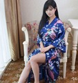 Plus Size Ladies Summer Long Kimono Short Robe Bath Gown Navy Blue Chinese Women Rayon Yukata Nightgown Pijama Mujer Mdn007