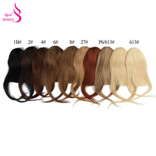 Clip In Bangs Brazilian Remy Human Hair front Neat Fringe Hand Tied Straight Bangs Clip On Hairpiece With Temple REAL BEAUTY