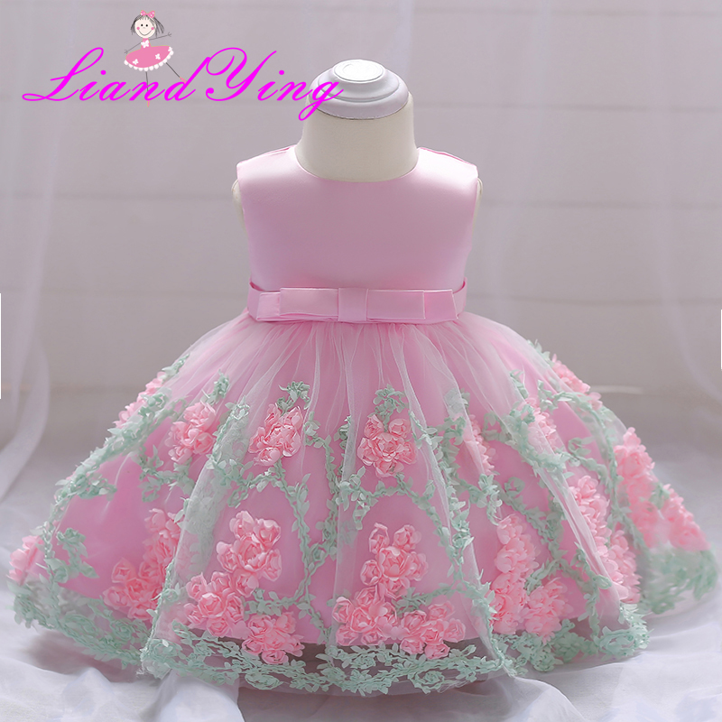 Vintage Baby Girl Dress Rosette Christening Gown 2018 Newborn Baby Girls First Birthday Gift Big Bow Little Princess Tutu Dress