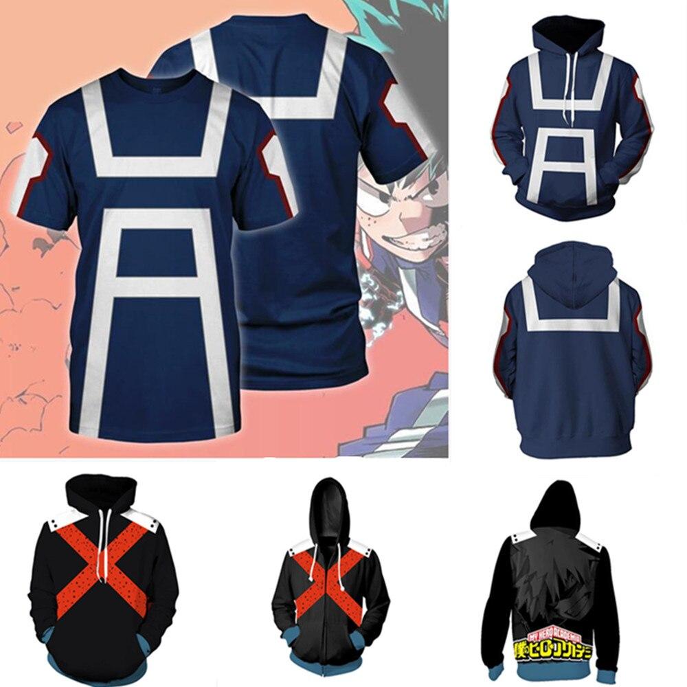 Anime Boku No Hero Bakugou Katsuki/iida Tenya/todoroki Shouto T-shirt Cosplay Costume My Hero Academia Sportswear Sweatshirts Elegant Appearance