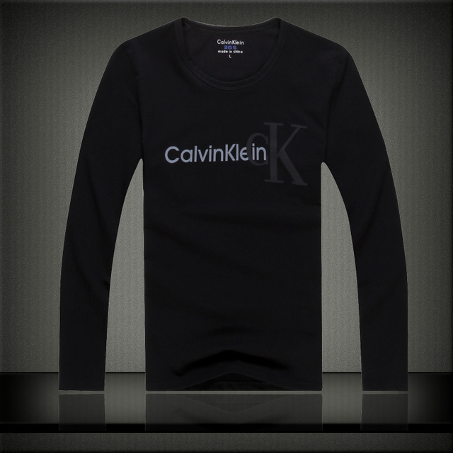 Calvin Klein Jeans Autumn Winter Long Sleeved T-Shirt Male Slim O-Neck Cotton Casual Shirt CK Men's Letter Printing Tops Tees