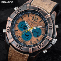 Men Sport Watches Dual Display Retro Watches Analog Digital LED Quartz Watch BOAMIGO Brand Wood Design