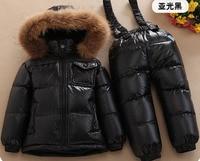RUSSIA winter Children's Sets baby's down jacket suit boys and girls raccoon fur ski suit