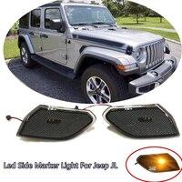 LED Side Marker Lights Reflector Warning Lamp For Jeep wrangler JL 2018 2019 Amber Turn Signal lights