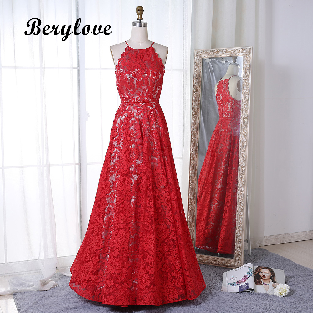 BeryLove Red Lace Prom Dresses 2018 Long Women Evening Party Dress Special Occasion Dresses Formal Gowns Graduation Dresses