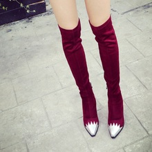 Stovepipe Over the Knee Boots Black Wine Red Suede Pointy Toe Thick Heels 2016 Newest Beautiful Fashion Charming Women Jackboot
