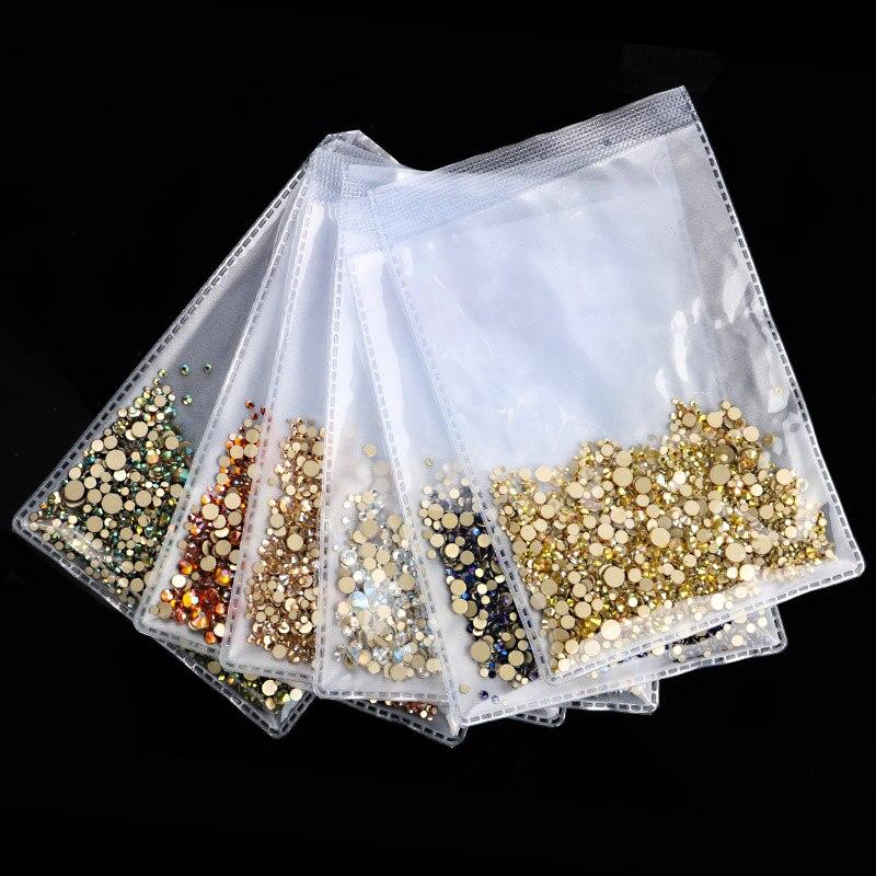 1440Pcs/Pack Gold Flatback AB Glass Nail Rhinestones Mixed Sizes Nail Art Decoration Stones Shiny Gems Manicure Accessories Tool