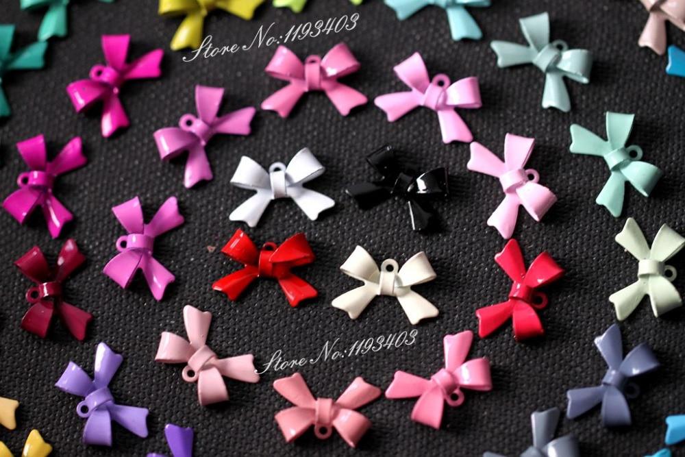 Gut 50 Farben 100 StÜcke no37-50 50 Pairs Bogen Farbige Bowknot Charm Anhänger Anschluss Schmuck Diy Für Ohrringe/armband/halskette-e-6