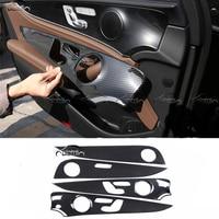 Car Styling Carbon Fiber Look Side Switch Panel Trim Interior Door Frame Stickers for Mercedes Benz E Class W213 E200l E300l Car