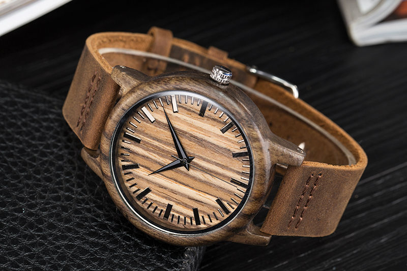 SIHAIXIN Man Watches Classic Luxury Leather Straps Quartz Male Clock Engraved With Personal Text Wood Wristwatch Gift For Him 10