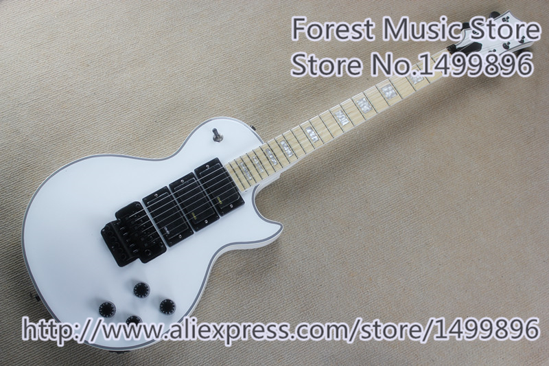 Glossy White Finish Three Pickup LP Custom Electric Guitars Maple Fingerboard & Black Floyd Rose Tremolo For Sale yibuy maple 2 single coil pickup 21 22f electric guitars diy builder kit with all accessories