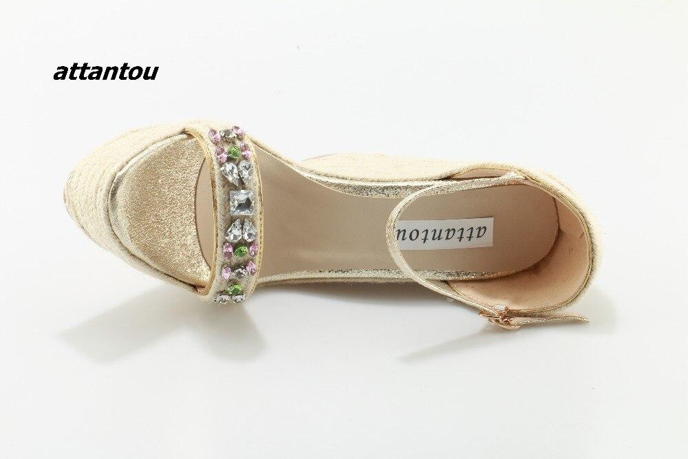 Модные плетеные сандалии с пряжками; стильная цветная кристальная палочка расклешенное платье; босоножки; модная обувь на платформе - 6