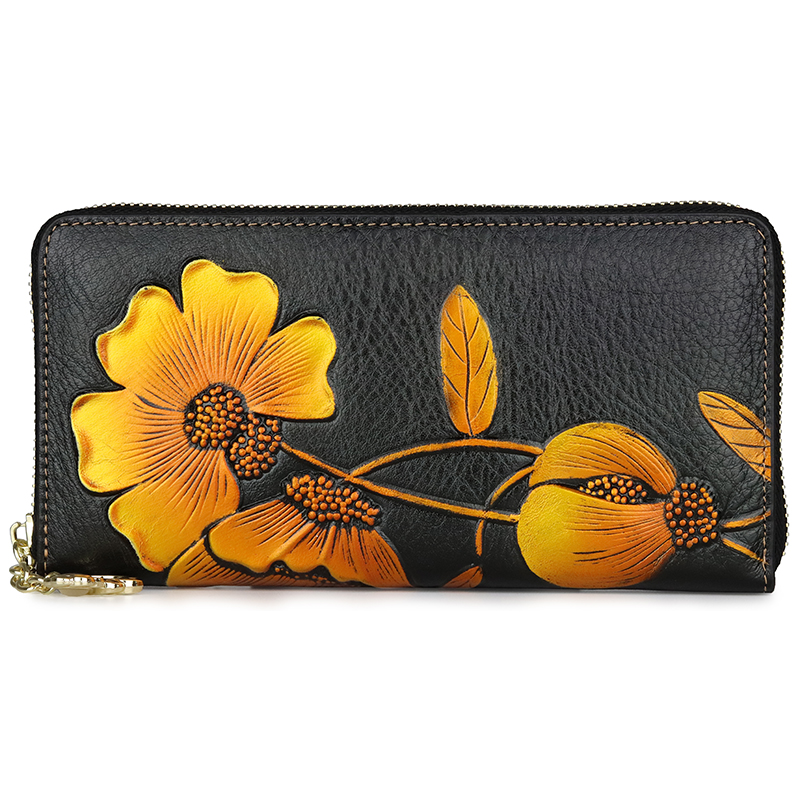 2019 New Women Long Wallets Genuine Leather Ladies Floral Phone Purse Wallet For Credit Card Fashion
