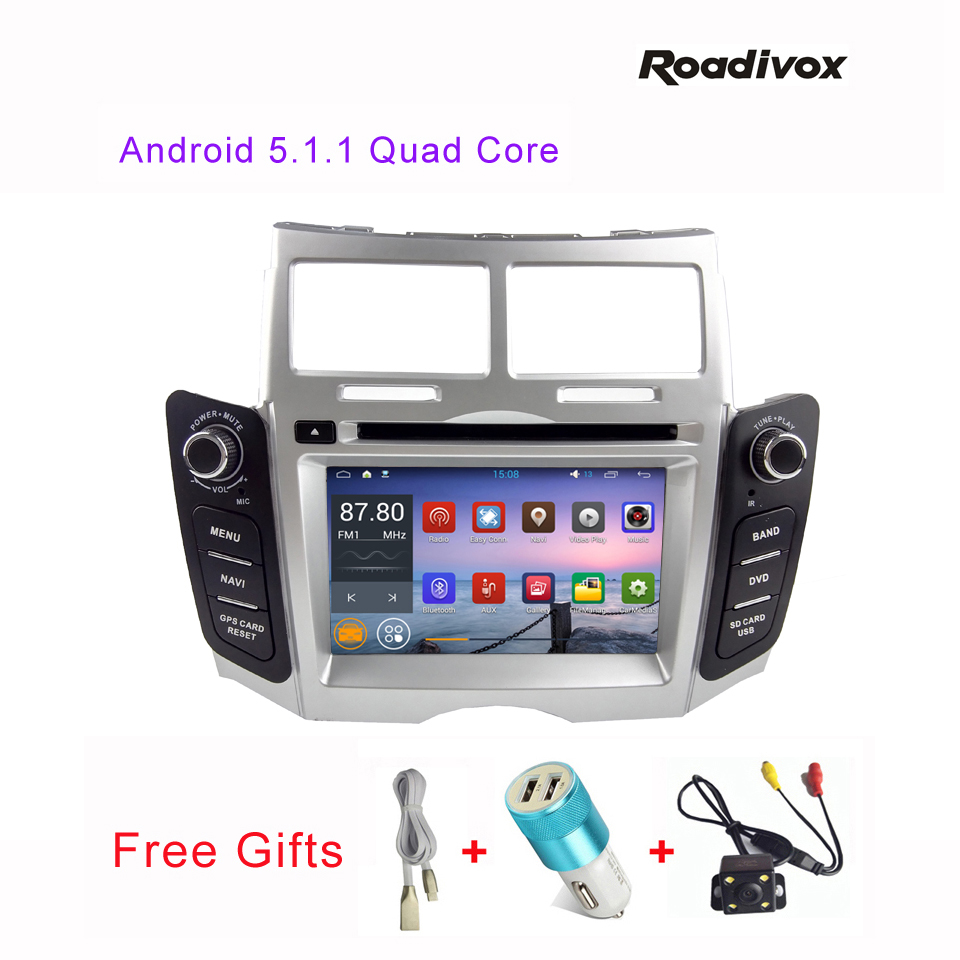 Android 5 1 1 quad core car dvd player for toyota yaris car radio gps 1080p