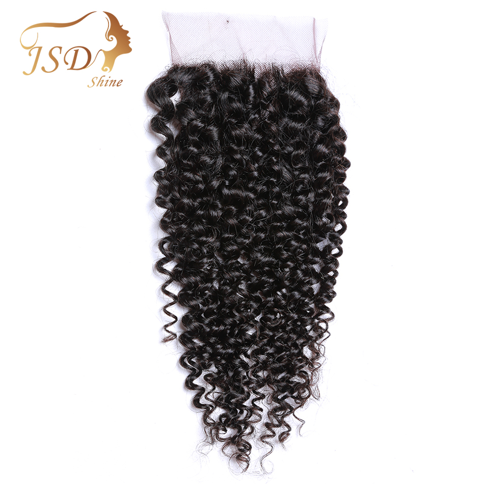 JSDshine Hair 4*4 Lace Closure Mongolian Kinky Curly Hair Weave 10-20inch Remy Hair Swiss Lace Closure 130% Density Can Be Dyed