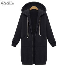 2018 Autumn Winter ZANZEA Women Hoodies Sweatshirt Casual Loose Long Coat Pockets Zip Up Outerwear Hooded Jacket Tops Plus Size
