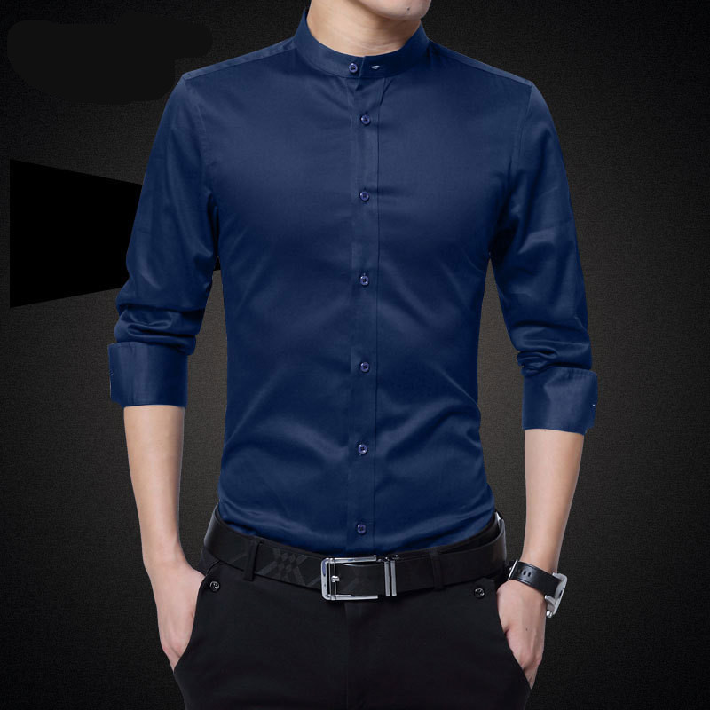 plus size 5xl men solid shirts 2017 new male dress stand