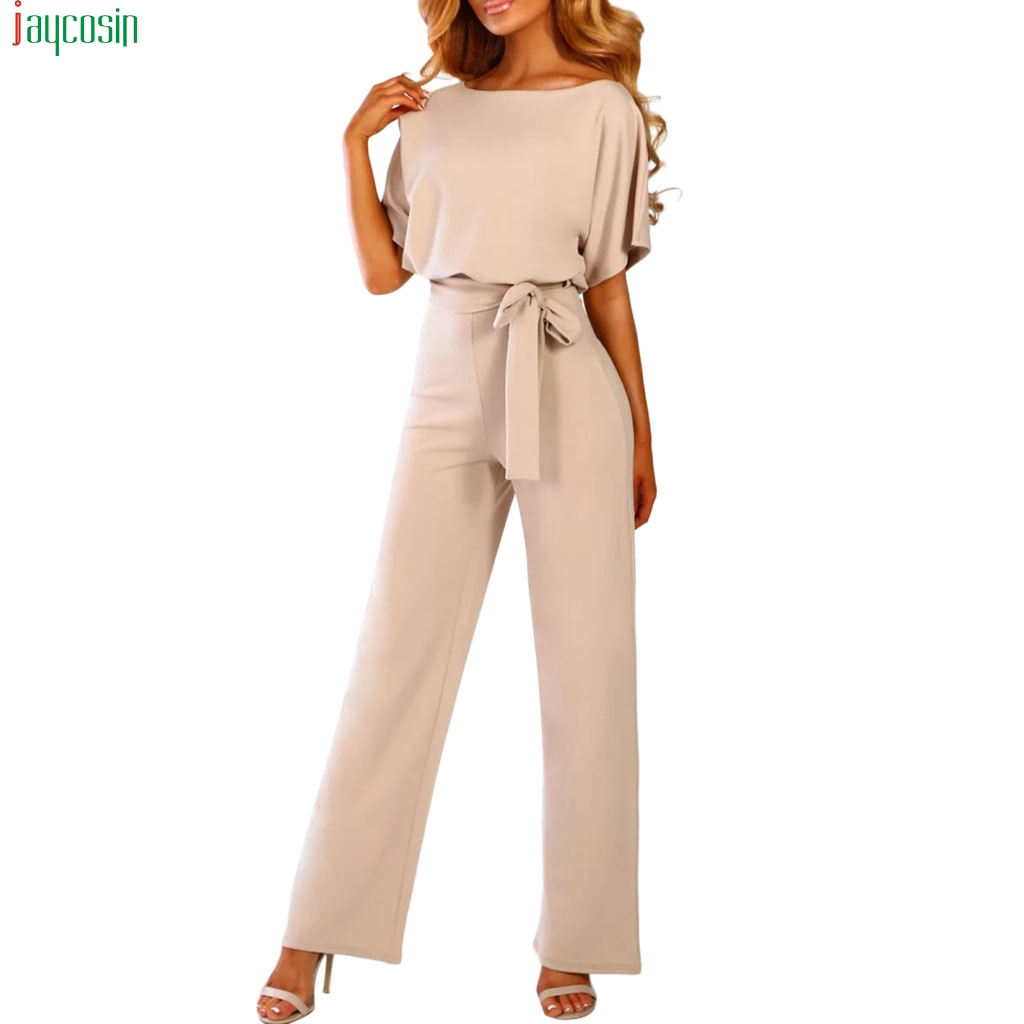 JAYCOSIN Sexy Jumpsuit Women Short Sleeve Playsuit Club Wear Straight Leg Jumpsuit With Belt Bodysuit Rompers Fashion 2019 New