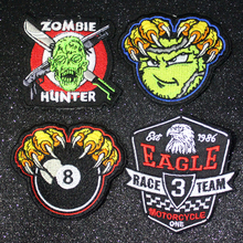 Pulaqi Hippie Paintball Patch Iron on Patches Cloth Embroidery for Clothing Zombie Rock Biker Badge Applique Stripe F