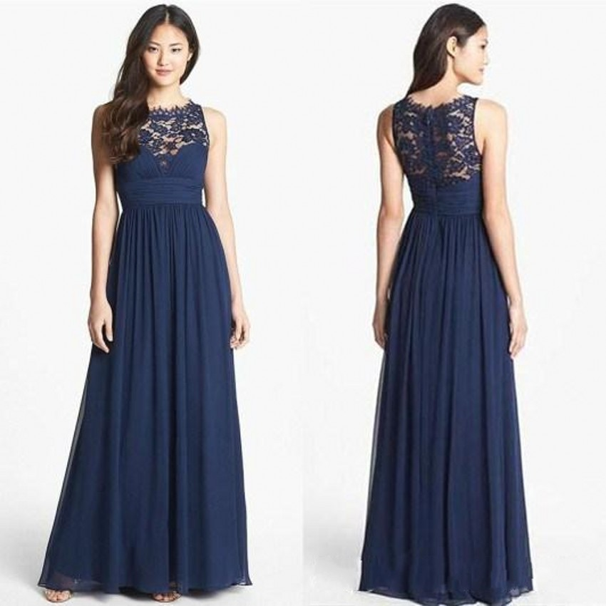 Long navy lace bridesmaid dresses for Navy dresses for weddings