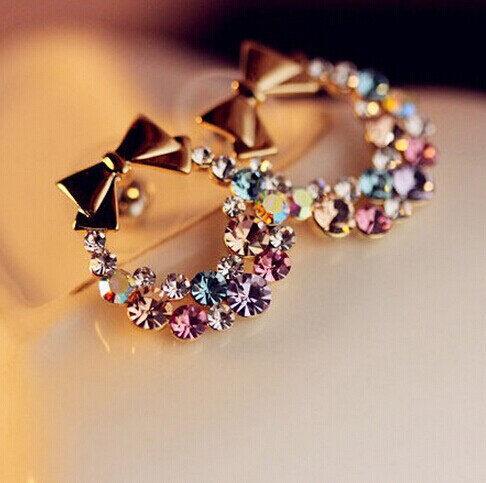Free Shipping $10 (mix order) New Fashion Imitation Crystal Colorful Rhinestone Bow Earrings E41 Vintage Jewelry ...