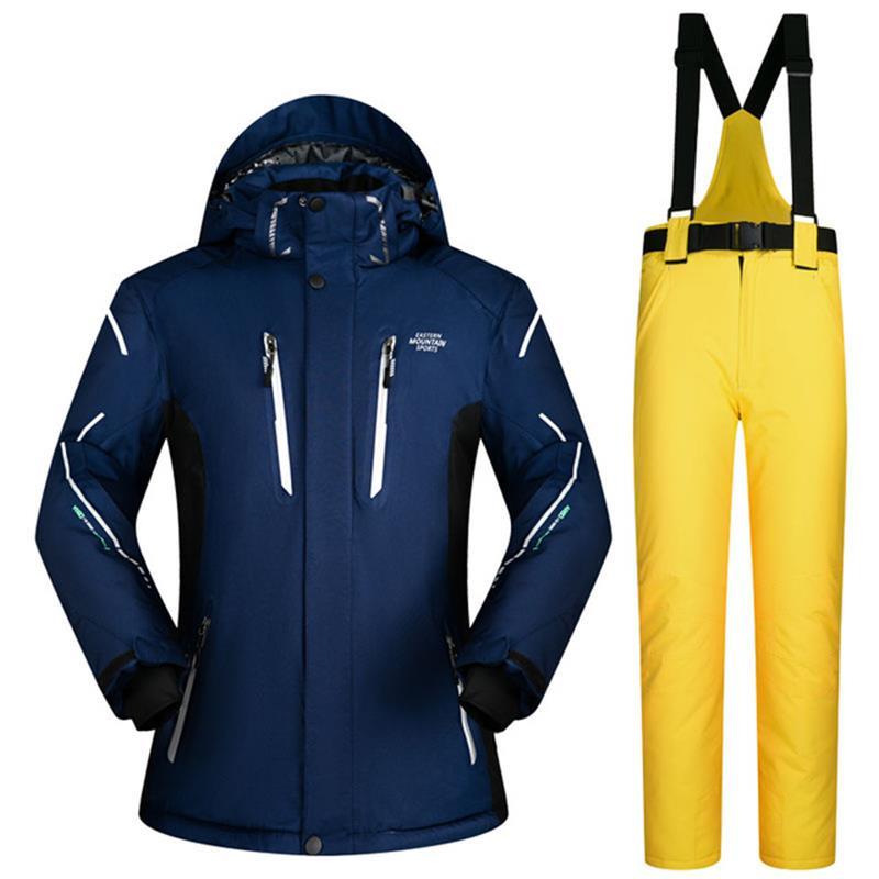 Мужской лыжный костюм, однотонная куртка для катания на лыжах, супер теплая водонепроницаемая Мужская лыжная куртка и штаны, зимние мужские
