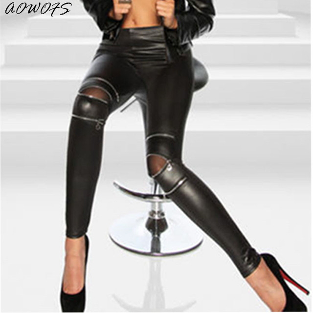 f15a2aa09d2 leggings women 2017 Hot Sale AOWOFS female Leather Skinny Pants Sexy Zipped  Leggings Stretch Slim Trousers for Lady Cloth Gifts