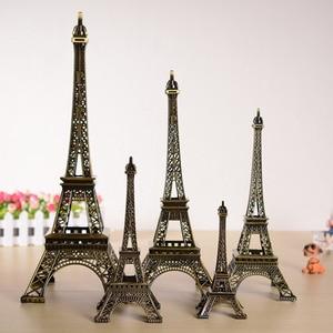 5cm-48cm Antiques Bronze Tone Curio Paris Eiffel Tower Figurine Statue Metal Crafts Vintage Model Decor For Wedding Decoration