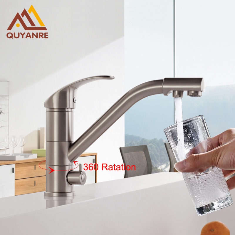 Quyanre Kitchen Faucet Basin Brass Nickel Brushed Kitchen Faucets Purification Tap Sink Mixer Tap 360 Rotation