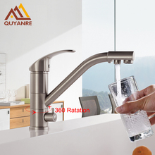 Quyanre Kitchen Faucet Basin Brass Nickel Brushed Kitchen Faucets Purification Tap Sink Mixer Tap 360 Rotation Drinking Water