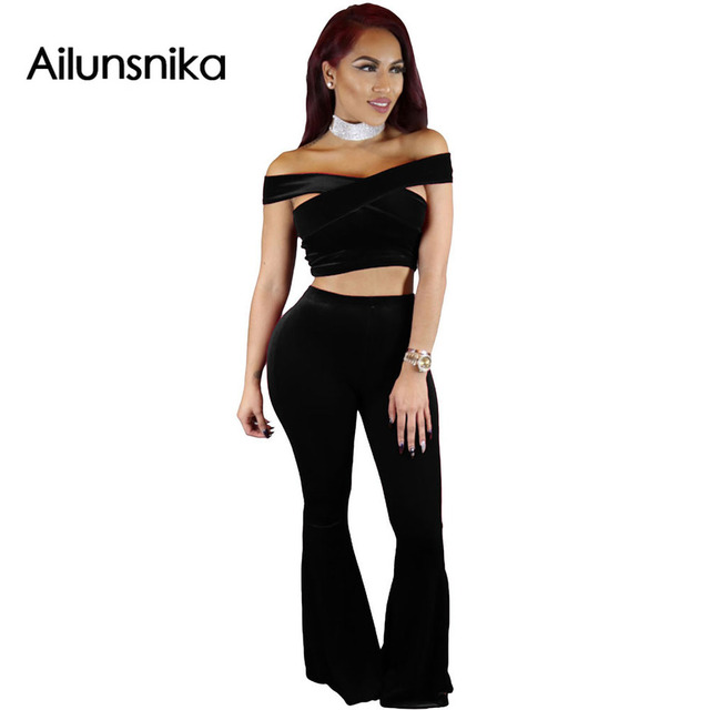 Ailunsnika Solid 2017 sexy Red Luxury Velvet Crop Top and Flared Pant Set Wide Leg  Hollow Out womens Overall Party wear DL62054