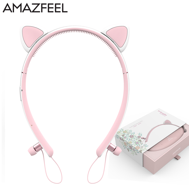 Cartoon Cat Ear Headphone Flashing Glowing Cosplay Cat Ear Headphones Foldable Gaming Headsets Earphone With Mic For Girl Gift slogan print cat ear marled hoodie