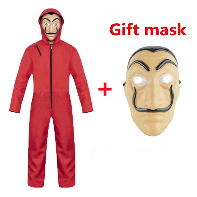 Movie SalvadorDali Clown Costume RobberyPaper House La Casa De Papel Cosplay Christmas PartyCostume Adults and ChildrenSend Mask