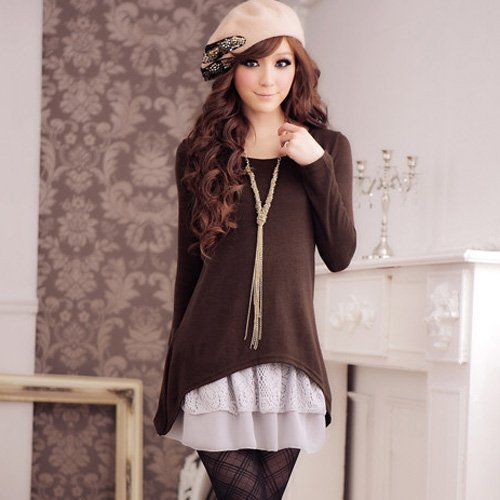 ff5f1e300d New Casual dress Two-pieces T-shirt and lace dress Brown wholesale and  retail