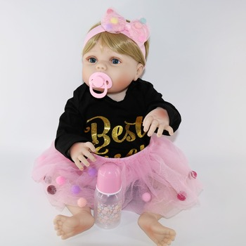 Realtouch 22inch Reborn full  Silicone Lifelike Bonecas Baby adorable princess bathe toddlers doll reborn toys dolls babies toy