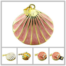100 Real capacity crystal Shell pendant diamond flash usb flash drives usb stick 64GB Necklace Pendrive