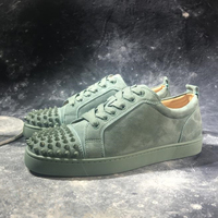 Fashion Green Suede Leather Mens Sneakers Sexy Rivets Low top Lace Up Flats Street Style Party Dress Shoes Man zapatos de mujer