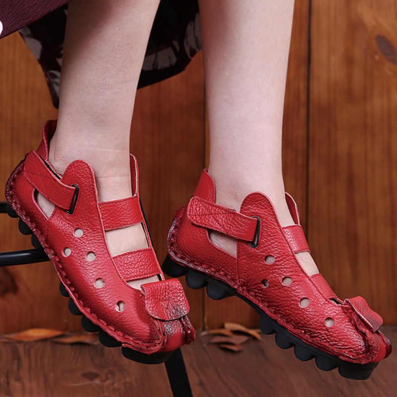 Yeni yumuşak alt kadın Flats hakiki deri ayakkabı rahat kadın ayakkabı açık kadın sandalet bayanlar ayakkabı bağbozumu el yapımı Moccasins