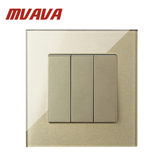 MVAVA Luxury Champagne Crystal Glass Panel 3 Gang 1 Way Push Button Home Wall Switch Single Control Light Switch Free Shipping